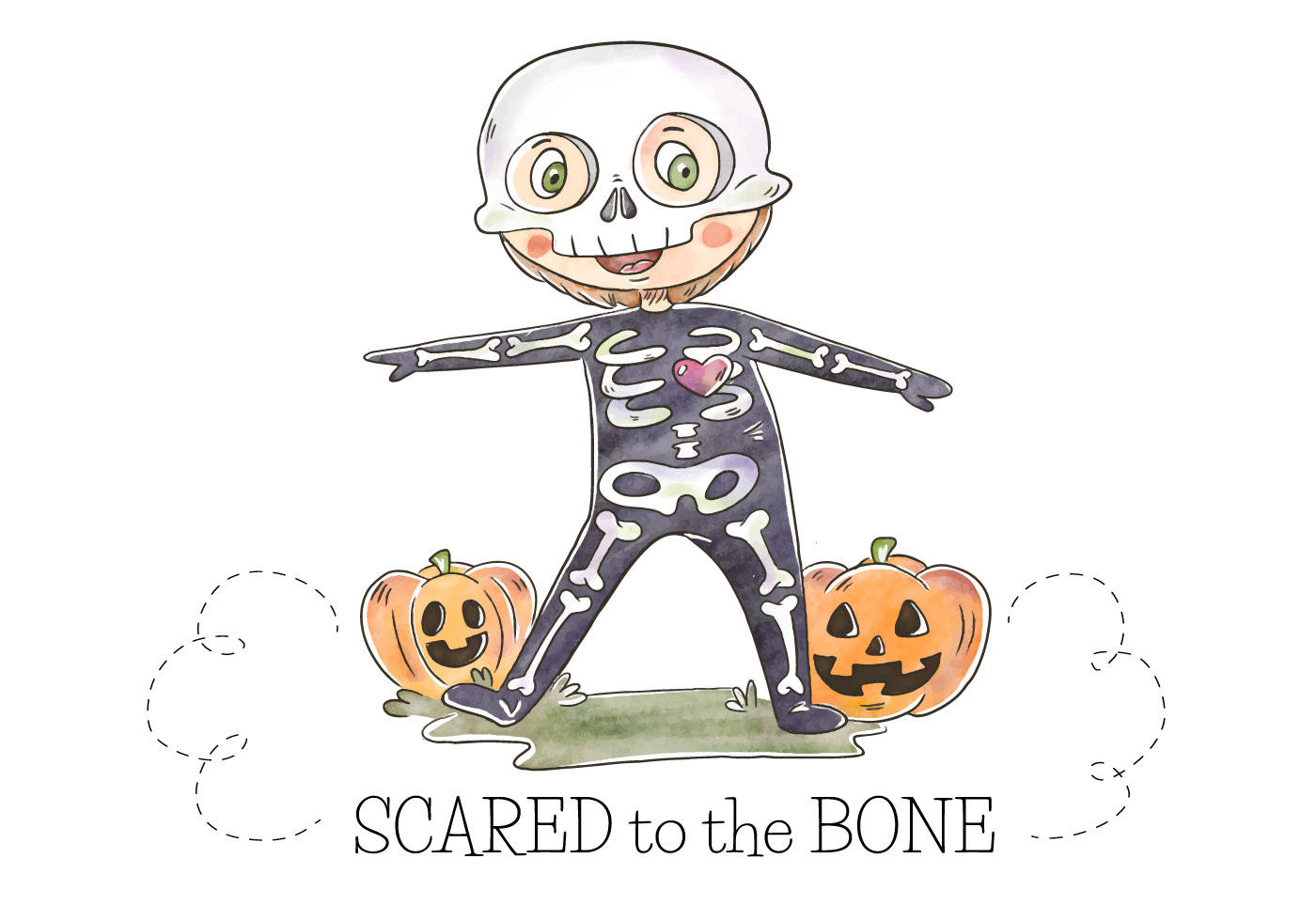 Cute Kid With Skeleton Costume And Pumpkin Vector ...