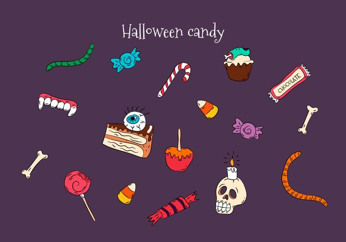 Hand Drawn Colorful Halloween Candies Vectors