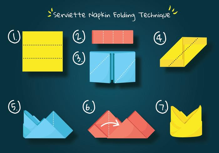 Serviette Napkin Folding Technique Vector