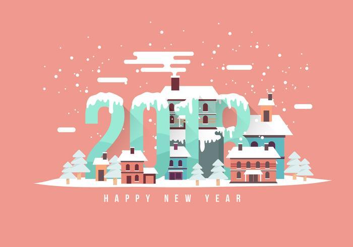 Happy New Year 2018 Snow Scene Vector Illustration