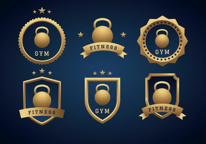 Kettle Bell Gold Logo Free Vector