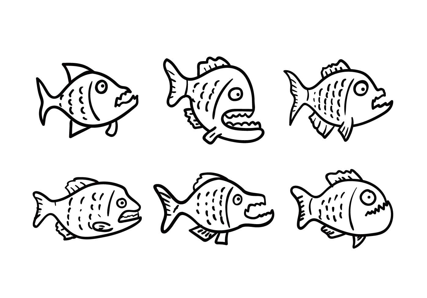 Piranha conjunto de vectores - Descargue Gráficos y Vectores Gratis