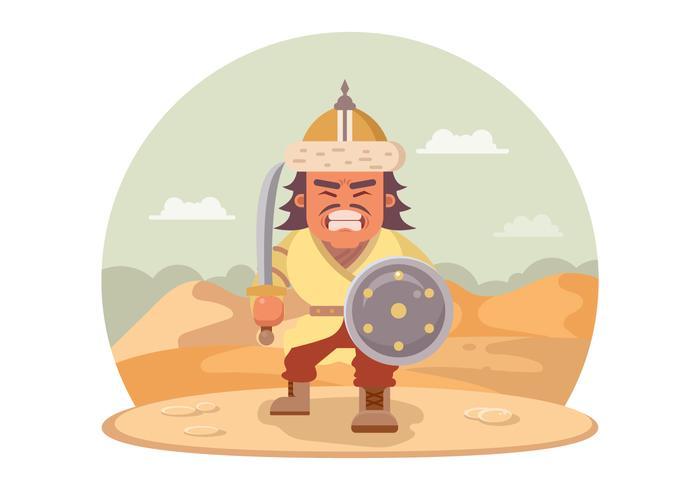 Guerrero mongol enojado con una espada