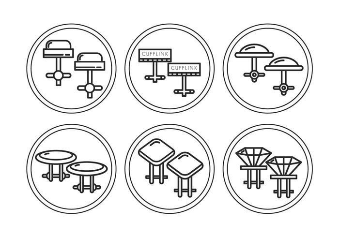 Manschettenknopf Vektor Set