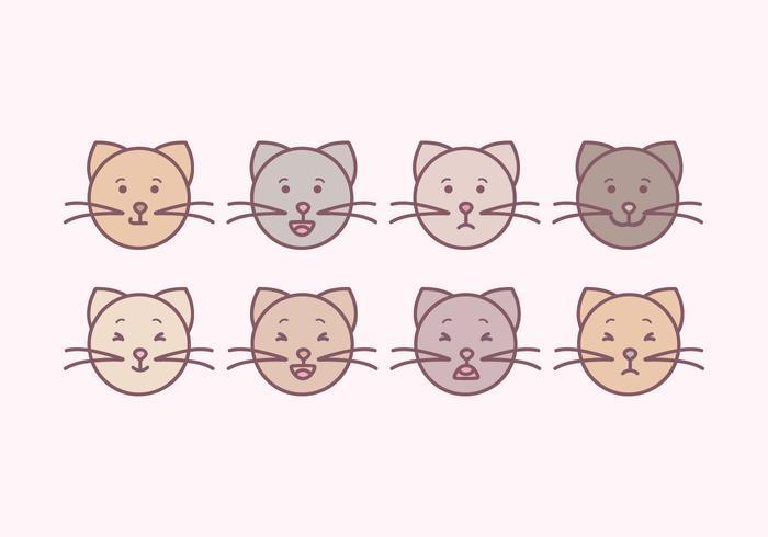 Vektor söta katter emoticons