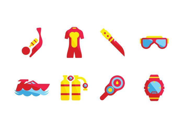Iconos de equipo de pesca submarina