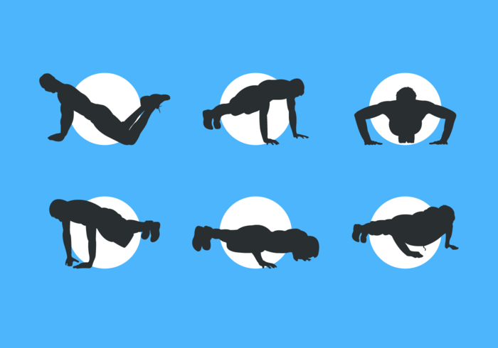 Man Silhouettes Doing Pushup Free Vector Pack