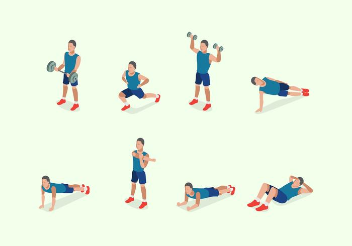 Illustration of Man Training Fitness
