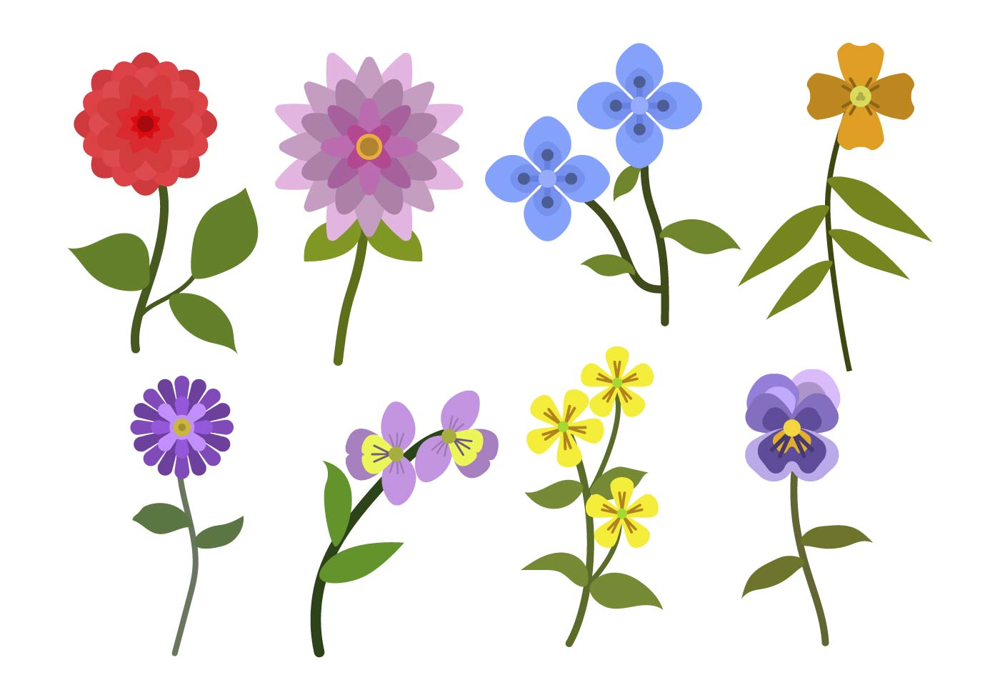 Flat Flower Vectors - Download Free Vector Art, Stock ...