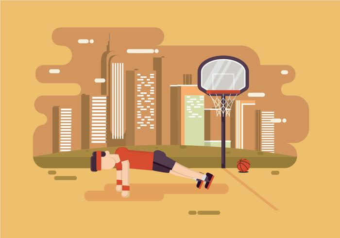 Man Doing Pushup In the Park Vector