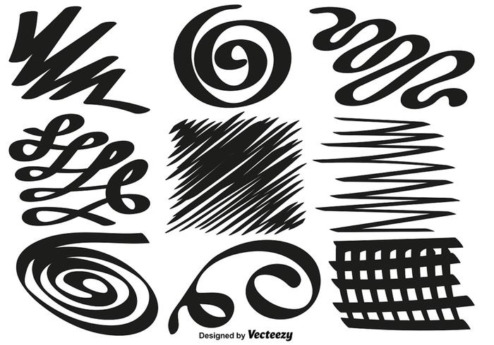 Set of hand drawn swirls and squiggles. Vector Set