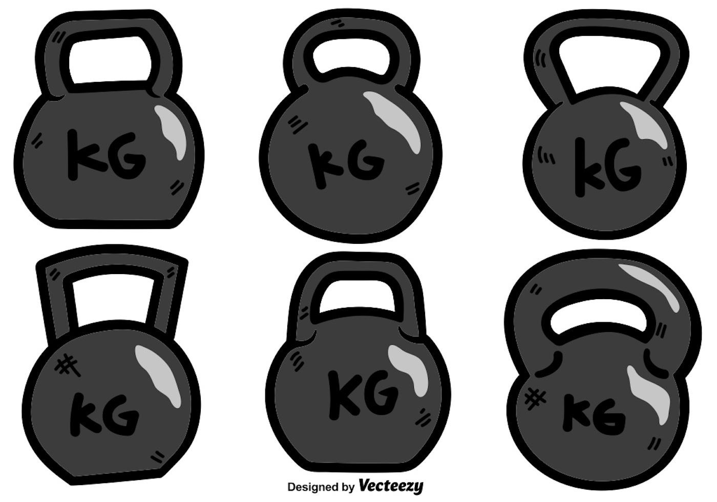 Vector Cartoon Kettle Bell Icon Set On White Background