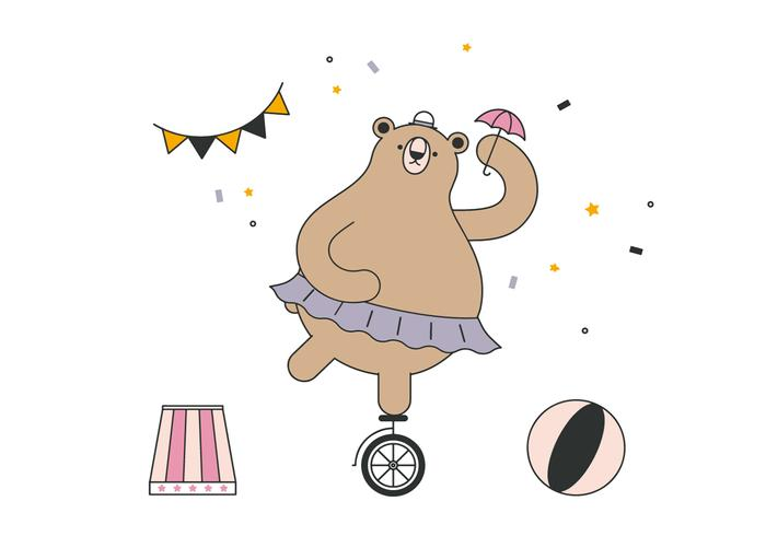 Dancing Circus Bear Vector