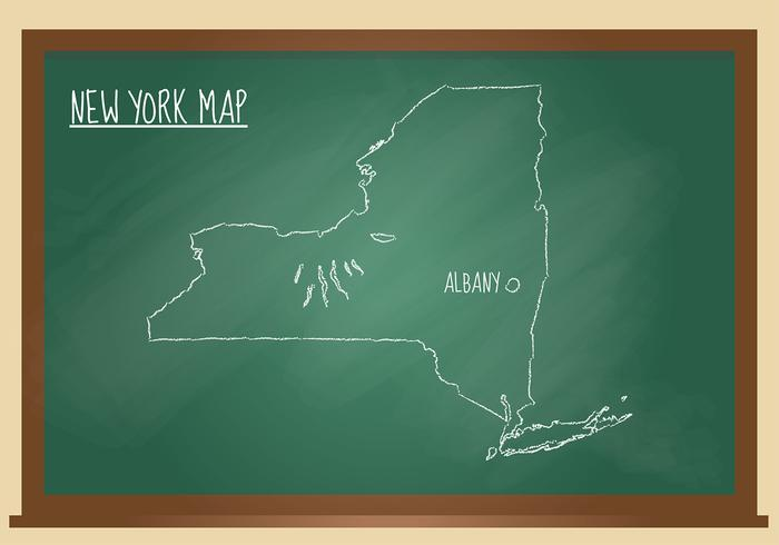 New York Map Chalk Black Board Free Vector