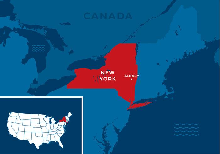 New York State Map Free Vector