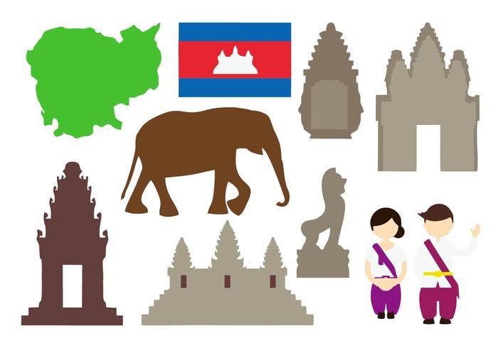 Libre Camboya Iconos Vector