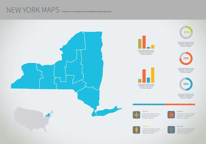 Gratis New York Blue Map Illustration