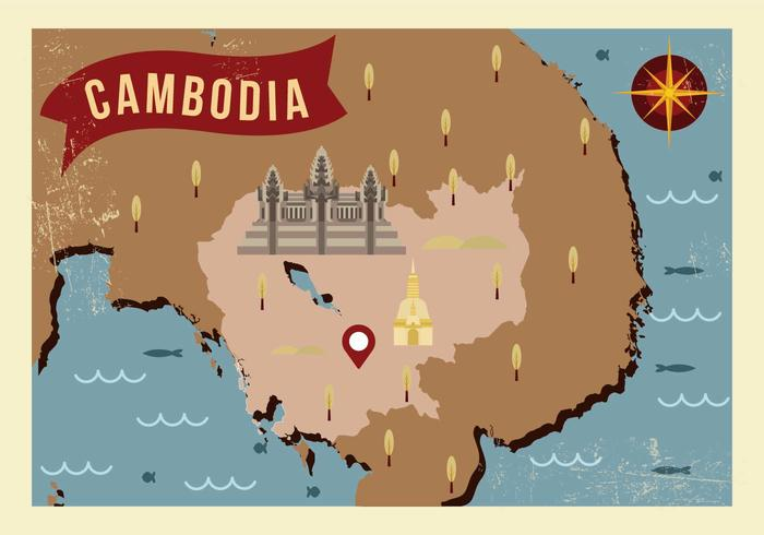 Vector de carte de Cambodge Vintage