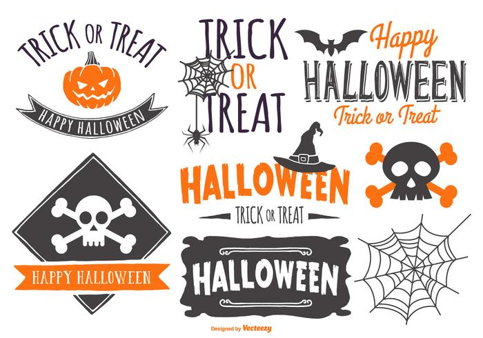 Sketchy Typographic Halloween Label Collection