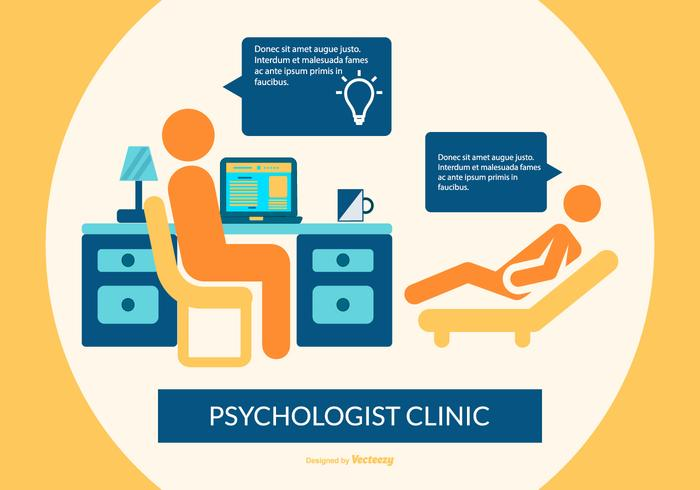 Flay Style Psychologist Office Illustration