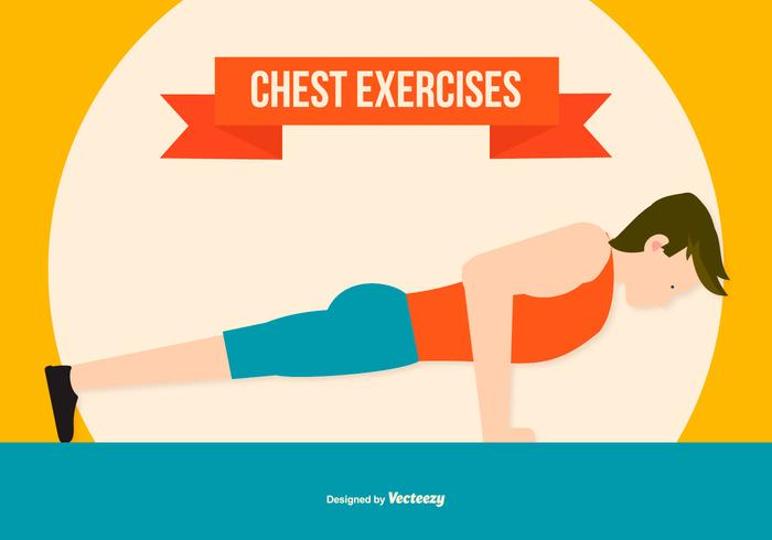 Chest Excercise Flat Style Illustration