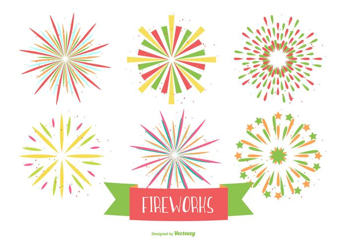 Colorful Firework Shapes on White Background
