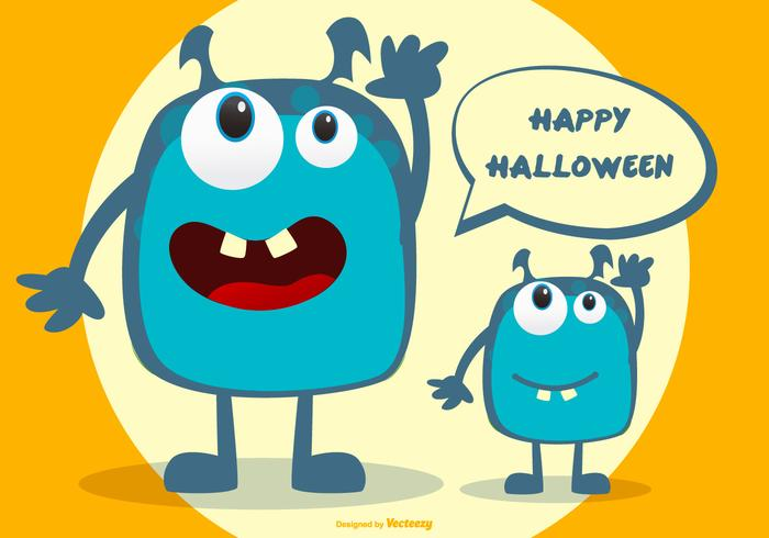 Gullig Halloween Monster Illustration