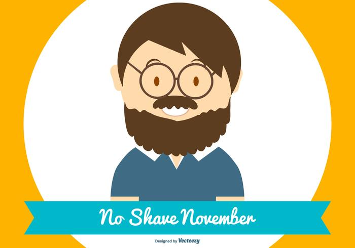 Cute No Shave November Flat Style Illustration