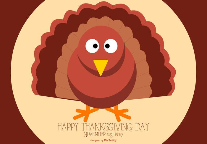 Cute Flat Style Happy Thanksgiving Turkey Illustration