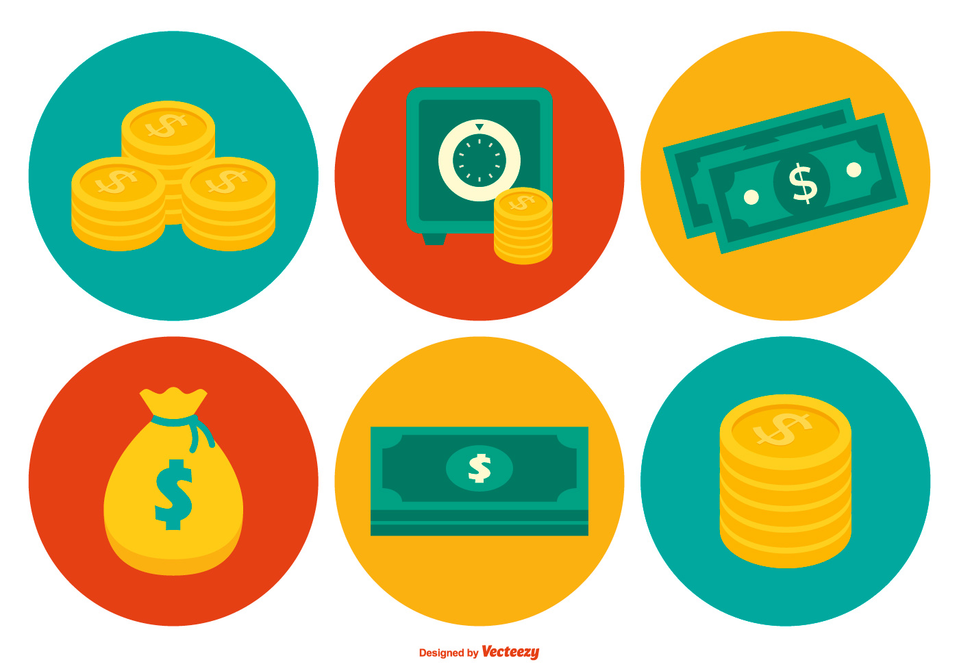 Colorful Money Icon Collection Download Free Vector Art