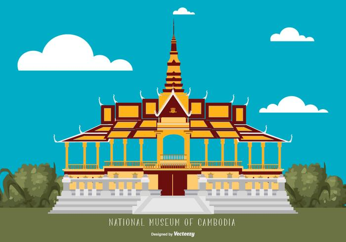 Flat Style Cambodia National Museum Illustration