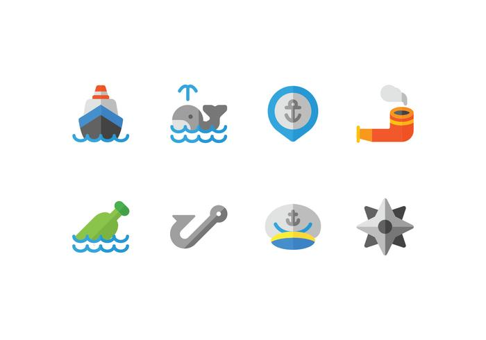 Harbour Flat Icons Set vector