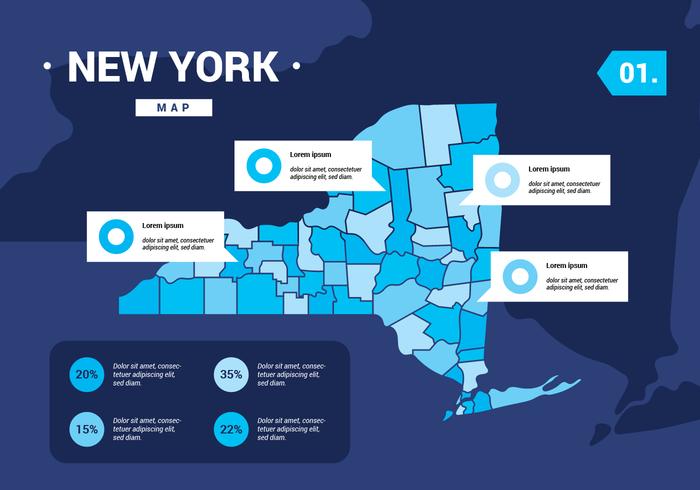 Vector de mapa de Nueva York