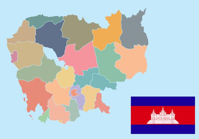 Vector de mapa de Camboya