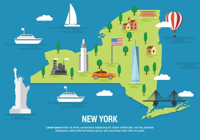 Mapa de Nueva York ilustración vectorial