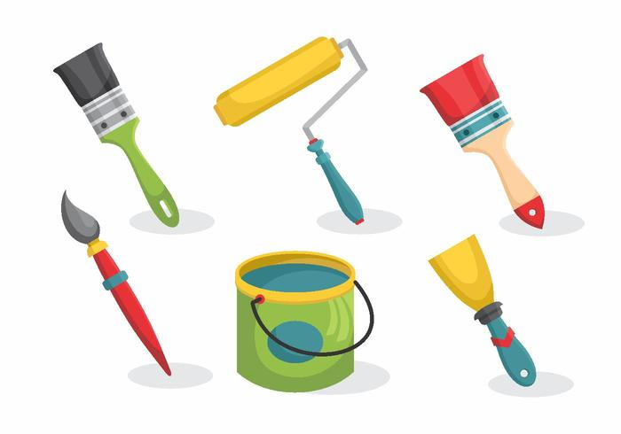 Bricolage Wall Painting Equipment Vector Pack