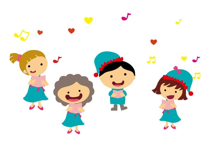 Free Kids Singing Carols Vector