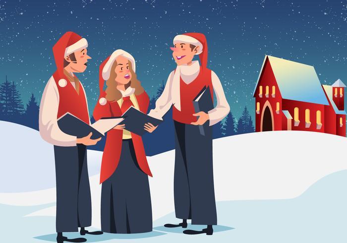 Navidad Carolers Vector