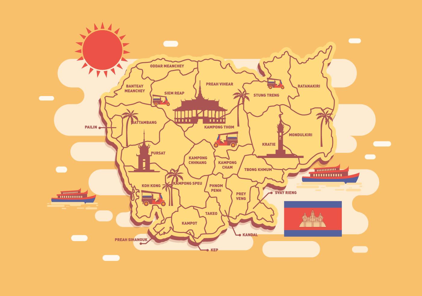 Cambodia Map Vector Download Free Vector Art Stock