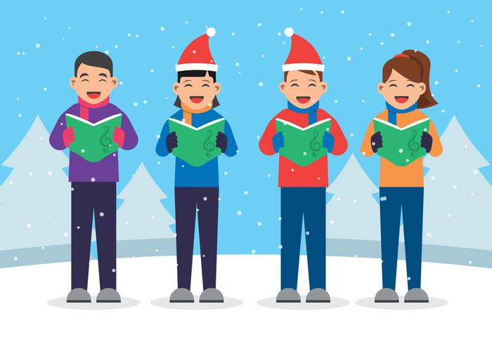 Kids Singing Christmas Carols Illustration