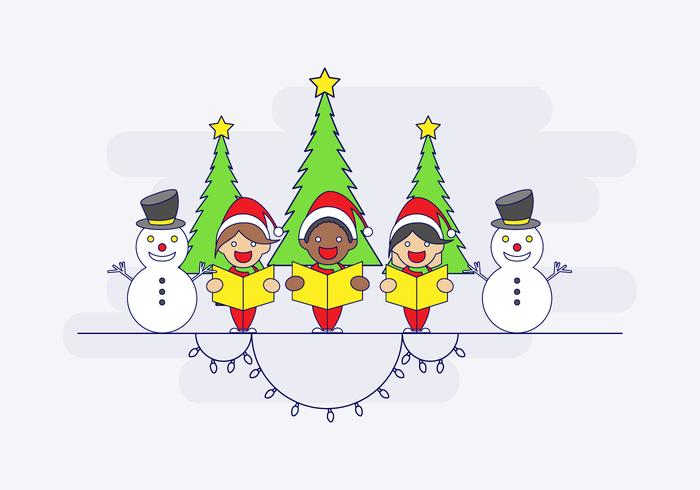 Carolers With Snowmen Vector