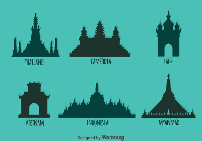 Sureste Asiático Landmark Silueta Vector