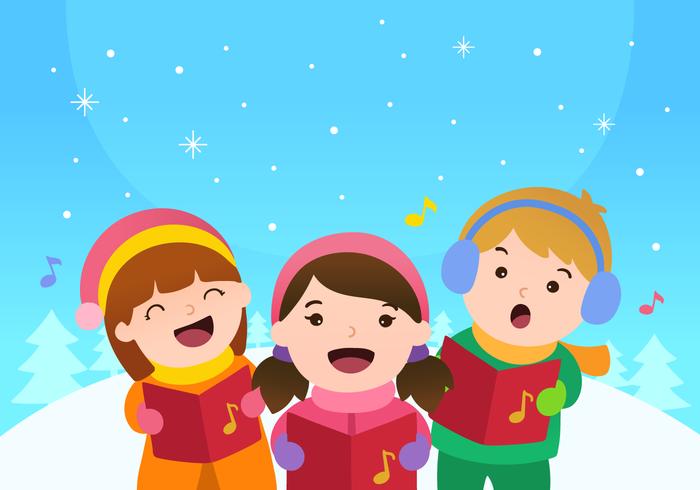 Niños cantando villancicos de Navidad Vector