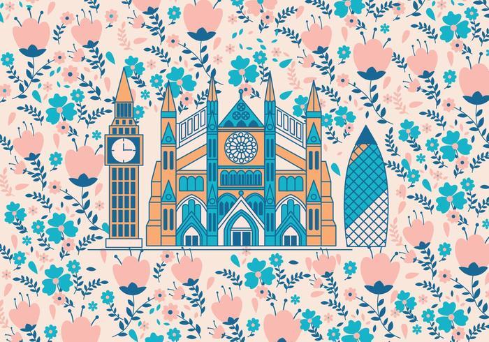 Abbaye de Westminster avec un vecteur de motif de fleurs