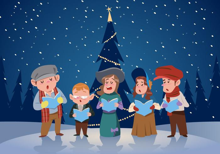 Kid Gruppe von Carolers Vector