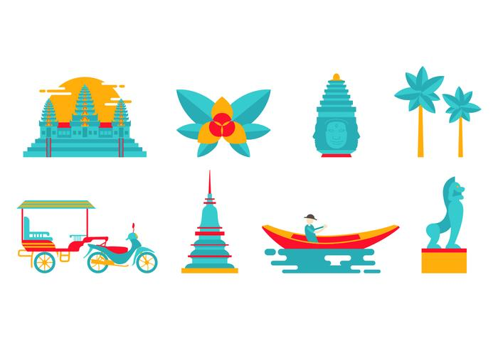 Free Landmark and Culture Vector de Cambodge