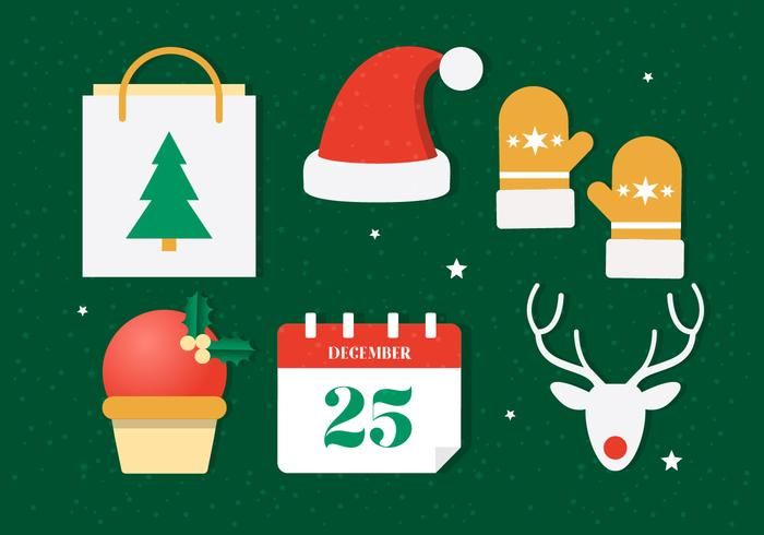 Flat Design Vector Winter Holiday Icons