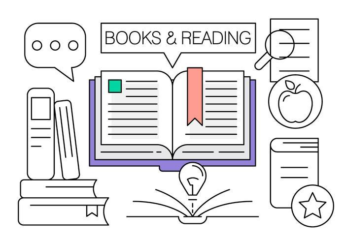 Iconos de libro lineal