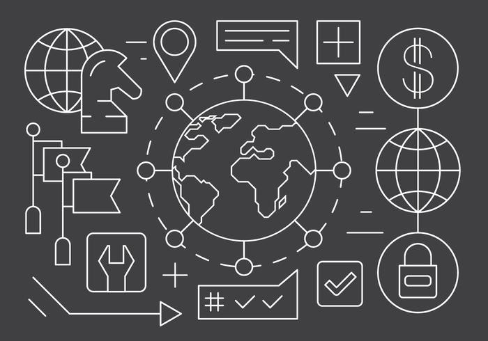 Libere los iconos globales del negocio