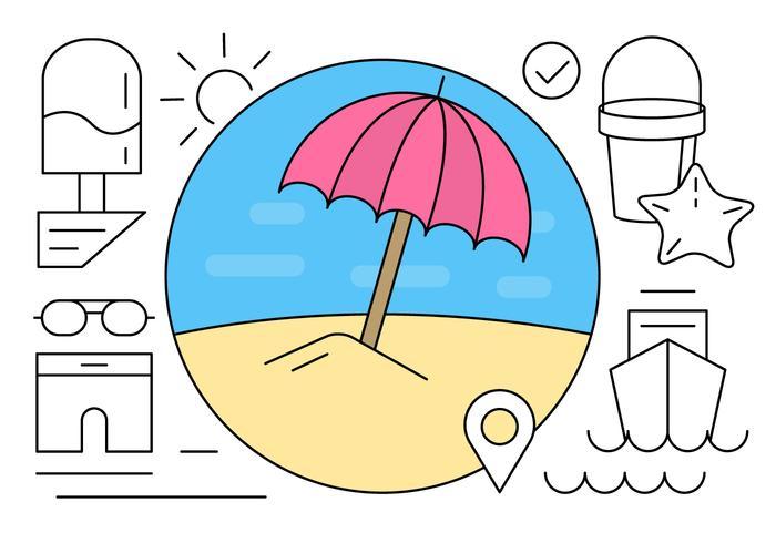 Kostenlose Linear Summer Beach Icons vektor